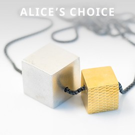 Silver and gold cube necklace